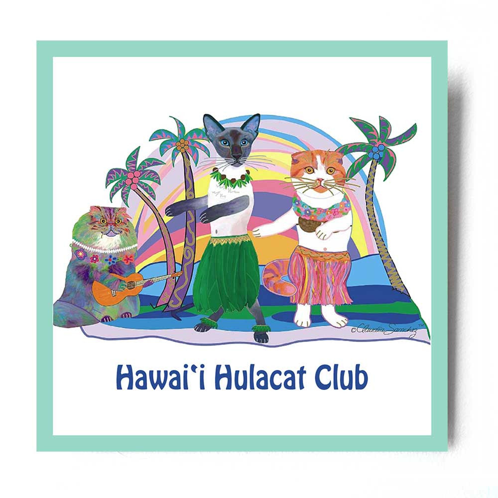 Hawaii Hulacat Club Aluminum Cat Art Print by Claudia Sanchez