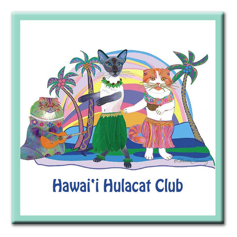 Hawaii Hulacat Club Ceramic Cat Art Tile by Claudia Sanchez