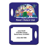 Hawaii Hula Cat Club Luggage Tag by Claudia Sanchez - Dark Blue