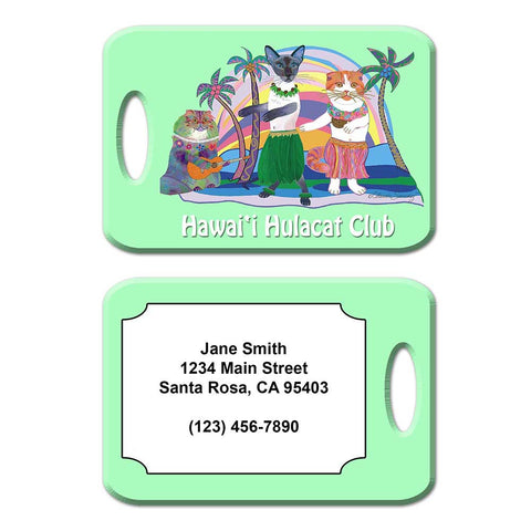 Hawaii Hula Cat Club Luggage Tag by Claudia Sanchez - Green