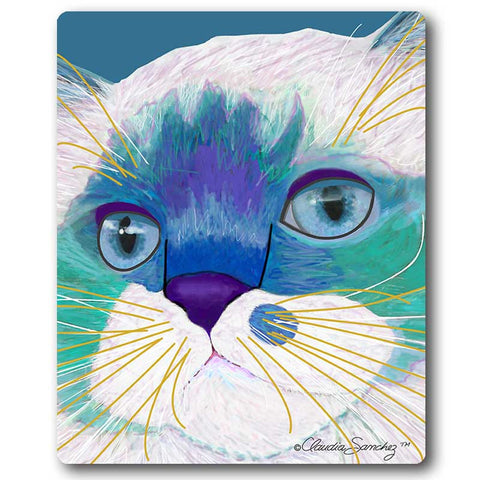 Juliette Face Cat Art Mousepad by Claudia Sanchez, Claudia's Cats Collection