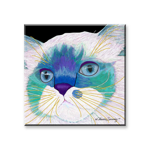 Juliette Face - Cat Art Magnet by Claudia Sanchez