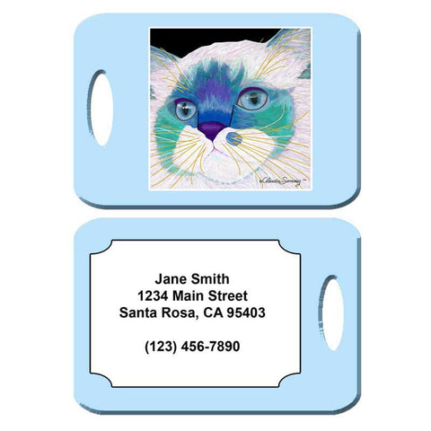 Juliette's Face - Cat Art Luggage Tag by Claudia Sanchez