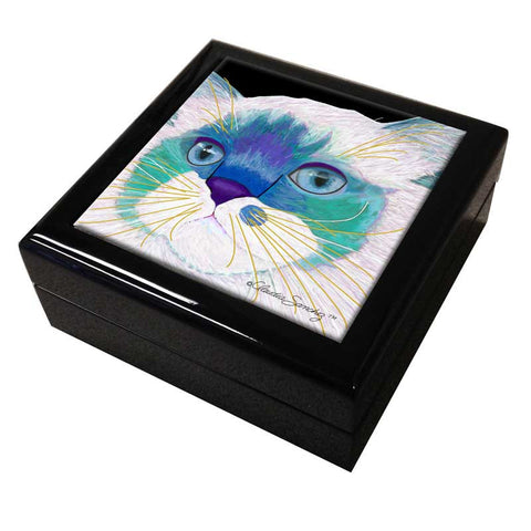 Juliette's Face Cat Art Tile Keepsake Box by Claudia Sanchez