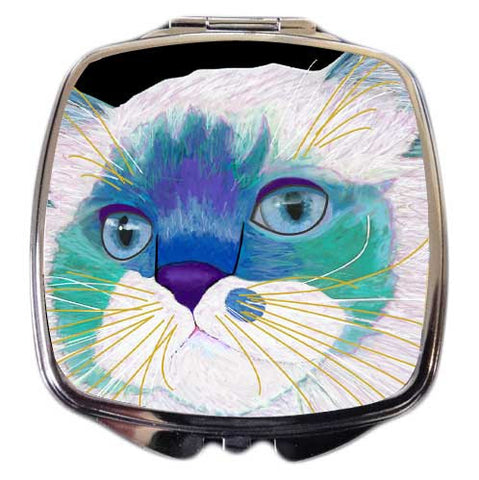 Juliette's Face Cat Art Compact Mirror by Claudia Sanchez