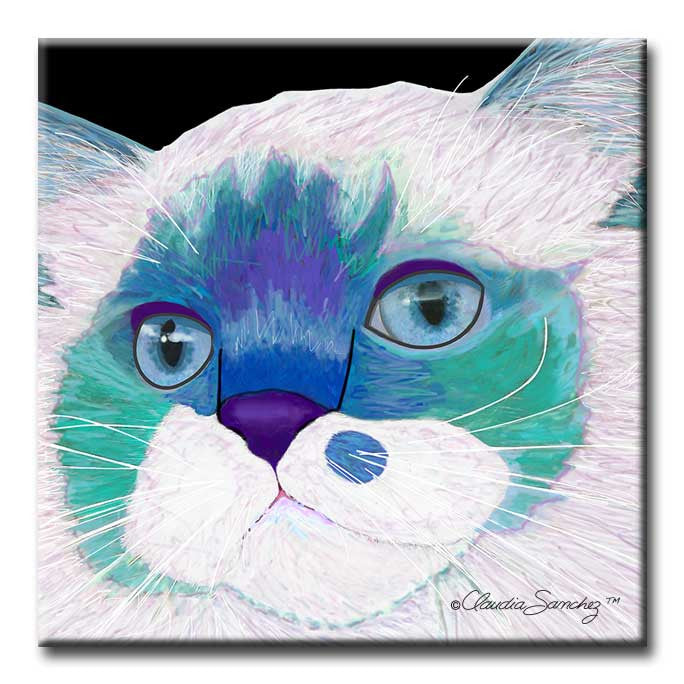 Juliette's Face Decorative Ceramic Cat Art Tile by Claudia Sanchez