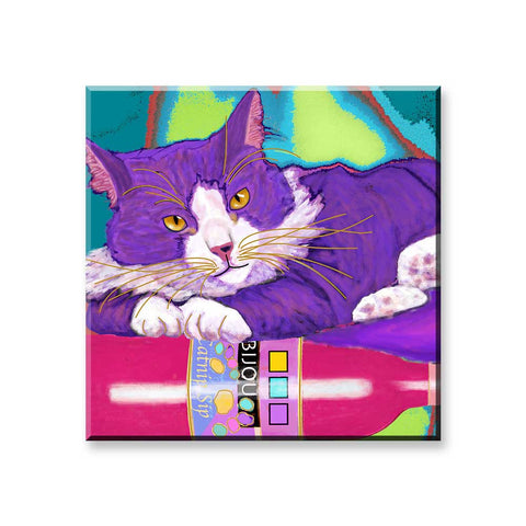 Juliette's Private Reserves -  Cat Art Magnet by Claudia Sanchez