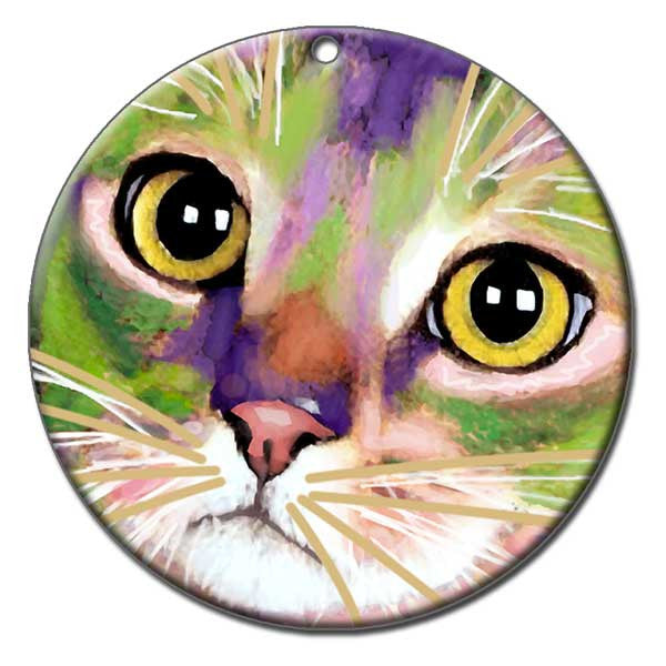 Kauhi Eyes Ceramic Cat Art Christmas Ornament by Claudia Sanchez, Claudia's Cats Collection