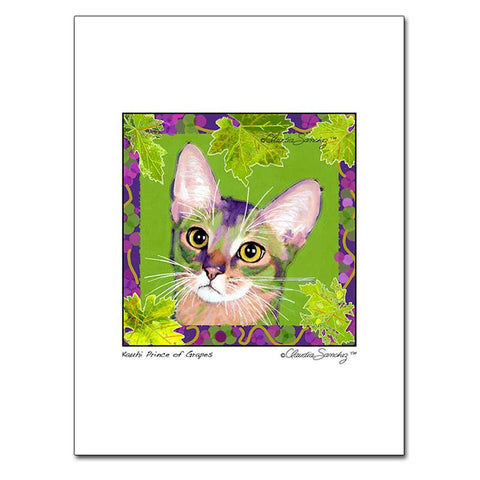 Kauhi, Prince of Grapes (Spring), Archival Matted Cat Art Print by Claudia Sanchez