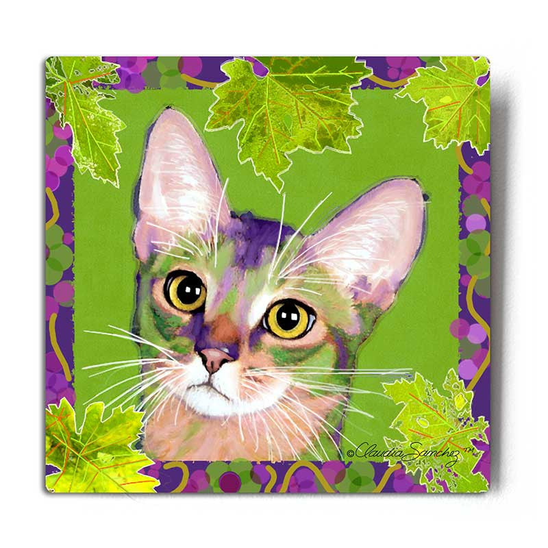 Kauhi, Prince of Grapes (Spring) Aluminum Cat Art Print by Claudia Sanchez, Claudia's Cats Collection