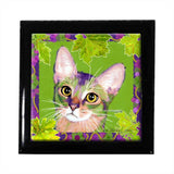 Kauhi Prince of Grapes (Spring) Cat Art Tile Keepsake Box by Claudia Sanchez
