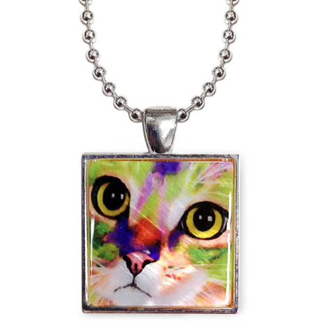 "Kauhi Eyes Cat Art 1"" Mother of Pearl Pendant Necklace by Claudia Sanchez, Claudia's Cats Collection"