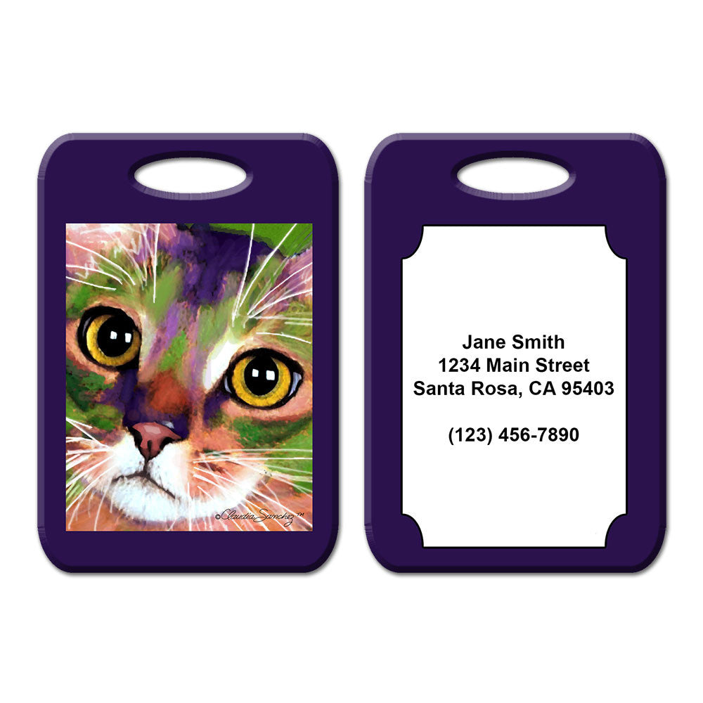 Kauhi Eyes Cat Art Luggage Tag by Claudia Sanchez