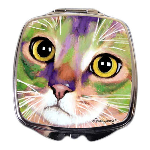 Kauhi Eyes Cat Art Compact Mirror by Claudia Sanchez