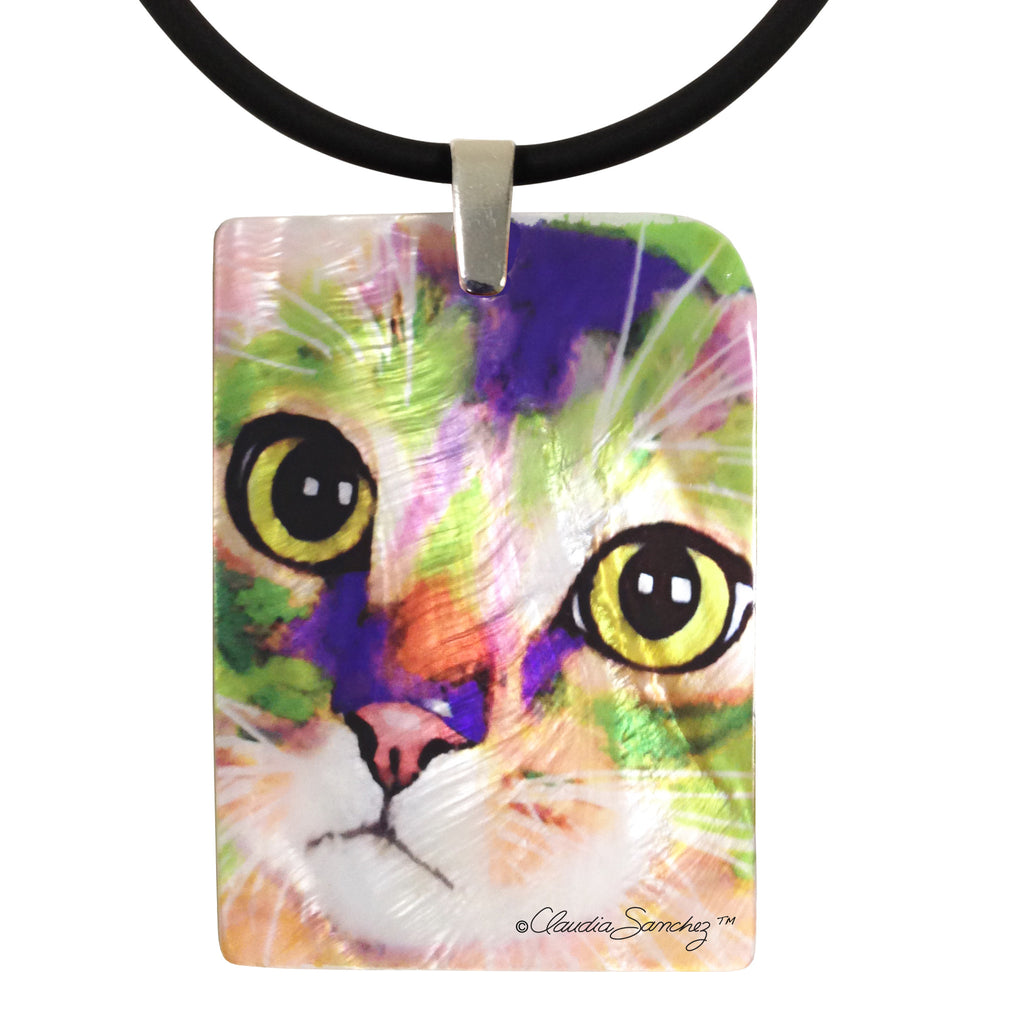 Kauhi Eyes Mother of Pearl Cat Art Pendant Necklace by Claudia Sanchez, Claudia's Cats collection