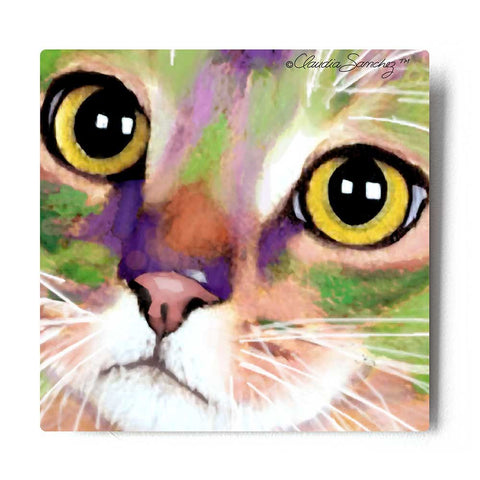 Kauhi Eyes Aluminum Cat Art Print by Claudia Sanchez, Claudia's Cats Collection