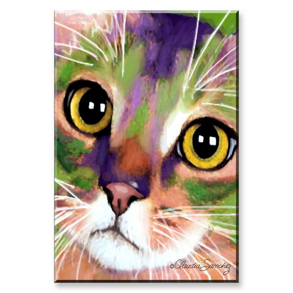 Kauhi Eyes - Cat Art Magnet by Claudia Sanchez