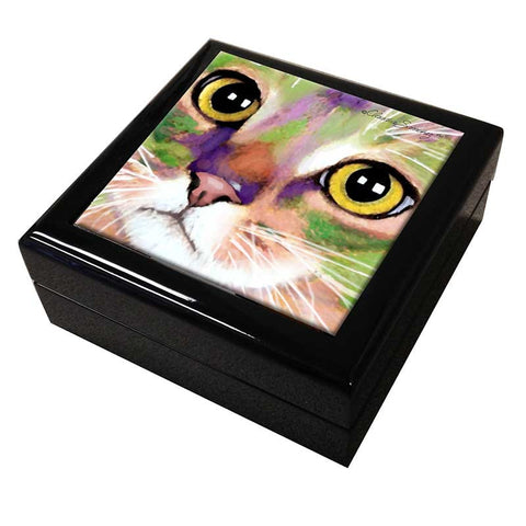 Kauhi Eyes Cat Art Tile Keepsake Box by Claudia Sanchez