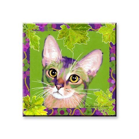 Kauhi Prince of Grapes, Spring Version -  Cat Art Magnet by Claudia Sanchez