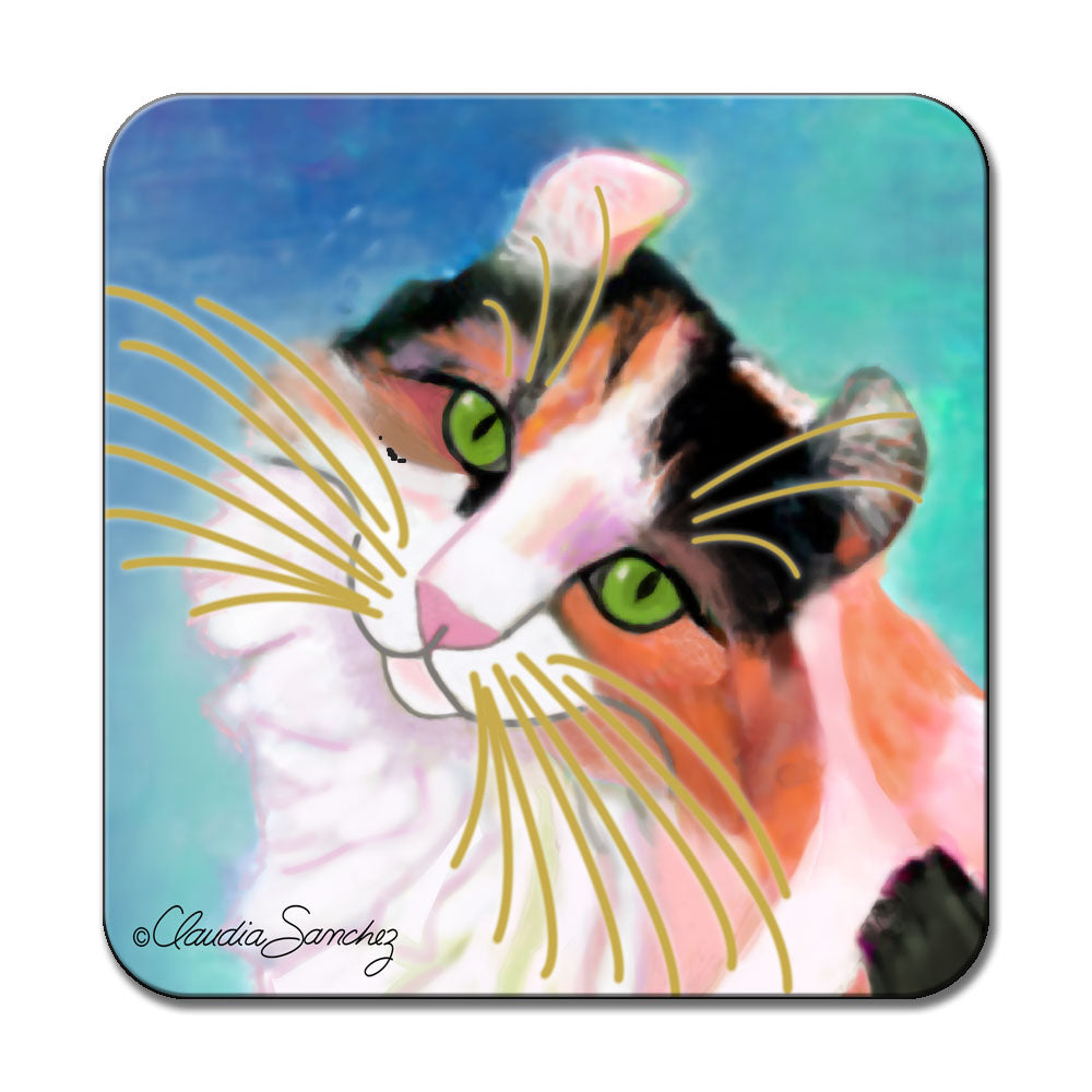 Keira's Model Face Cat Art Coaster