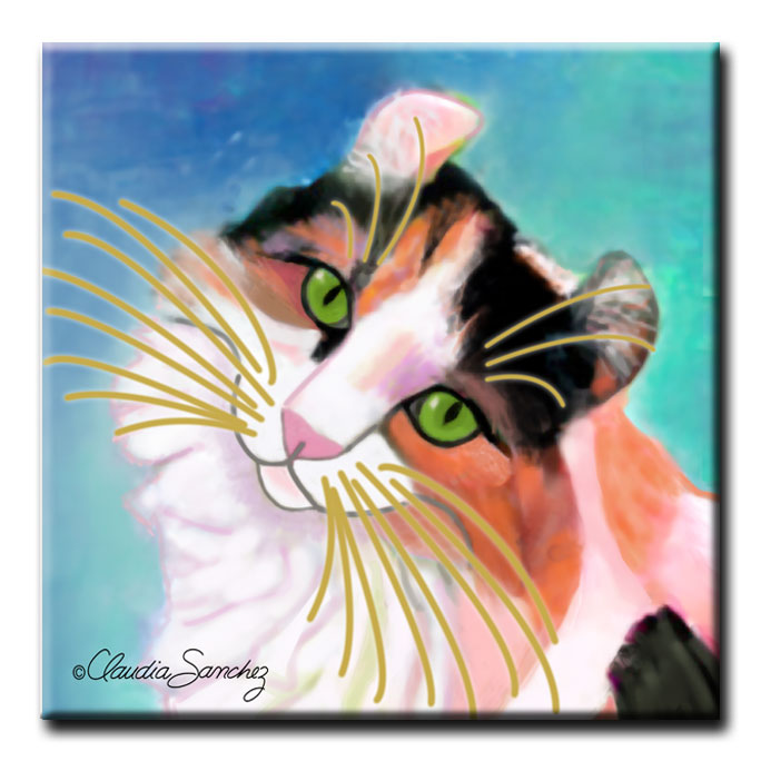 Keira's Model Face Decorative Ceramic Cat Art Tile