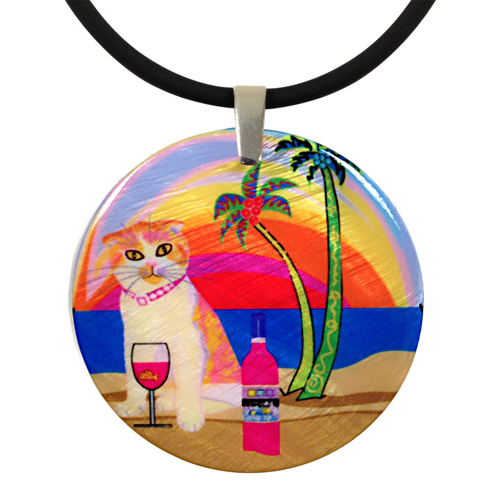 Aloha Lucy Mother of Pearl Cat Art Pendant Necklace by Claudia Sanchez, Claudia's Cats Collection