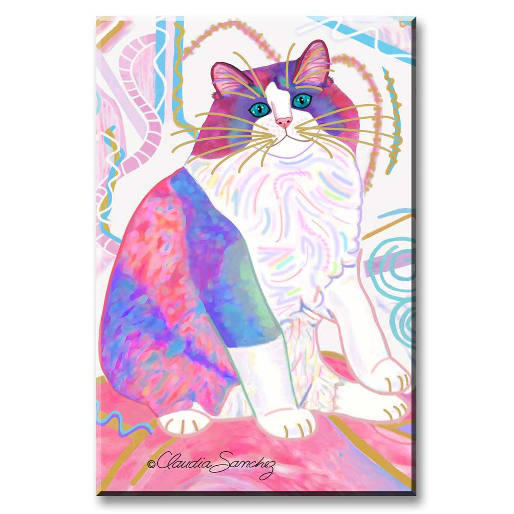 Zapata's Dream World - Cat Art Magnet by Claudia Sanchez