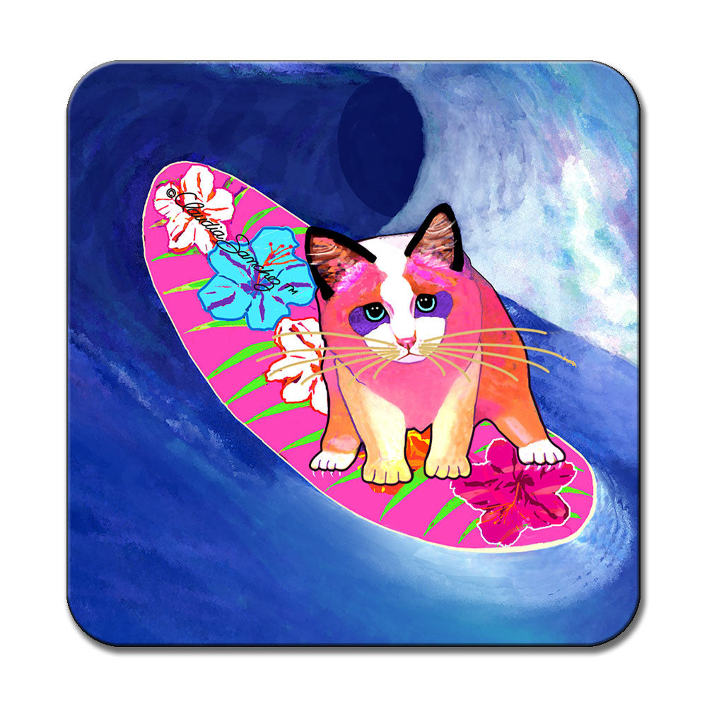 Mango Surfer Girl Cat Art Coaster