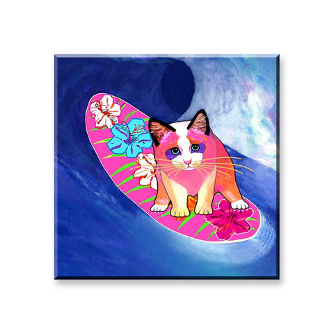 Mango Surfer Girl - Cat Art Magnet by Claudia Sanchez
