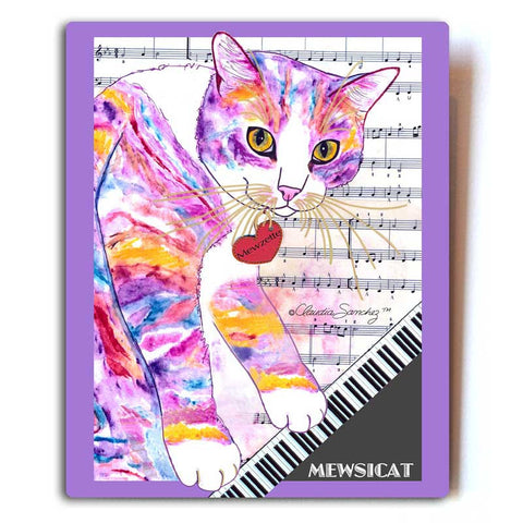 "Mewzette Mewsicat Aluminum Cat Art Print, 8x10"" by Claudia Sanchez, Claudia's Cats Collection"