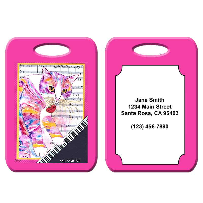 Mewzette Mewsicat - Cat Art Luggage Tag by Claudia Sanchez
