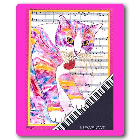 Mewzette Mewsicat Cat Art Mousepad by Claudia Sanchez, Claudia's Cats Collection