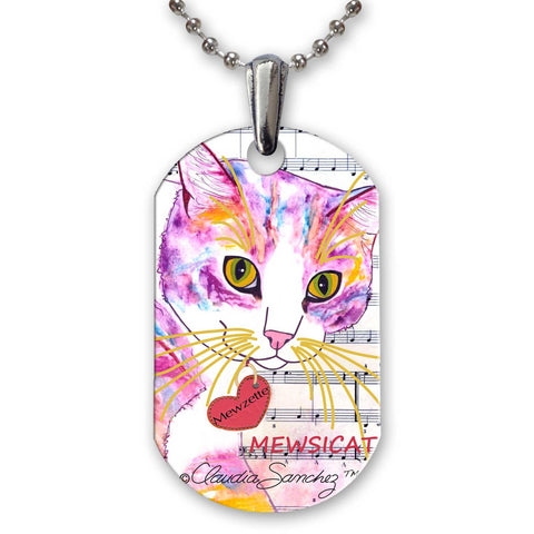 Mewzette Mewsicat Aluminum Pendant Necklace by Claudia Sanchez, Claudia's Cats Collection