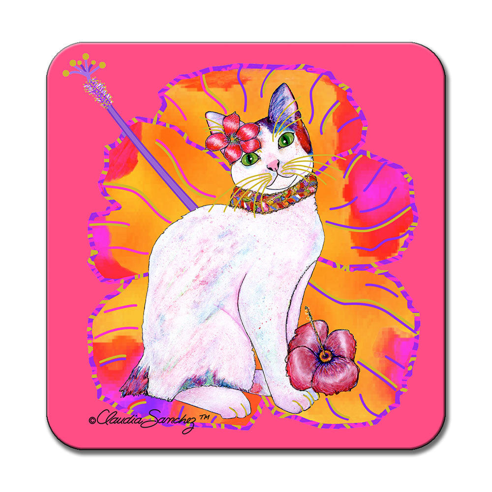 Monica Hibiscus Cat Art Coaster