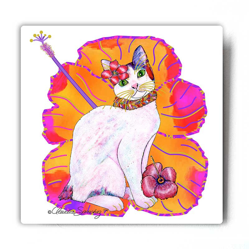 Monica Hibiscus Cat Art Metal Print by Claudia Sanchez