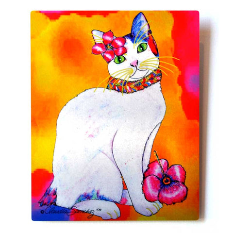 Monica Tropicat Aluminum Cat Art Print by Claudia Sanchez