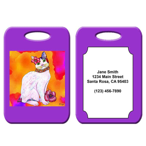 Monica Tropicat - Cat Art Luggage Tag by Claudia Sanchez