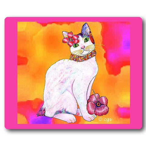 Monica TropiCat Art Mousepad by Claudia Sanchez, Claudia's Cats Collection