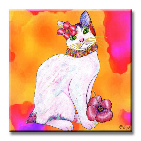 Monica Tropicat Decorative Ceramic Cat Art Tile by Claudia Sanchez