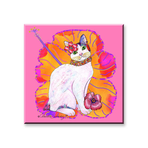 Monica Hibiscus - Cat Art Magnet by Claudia Sanchez