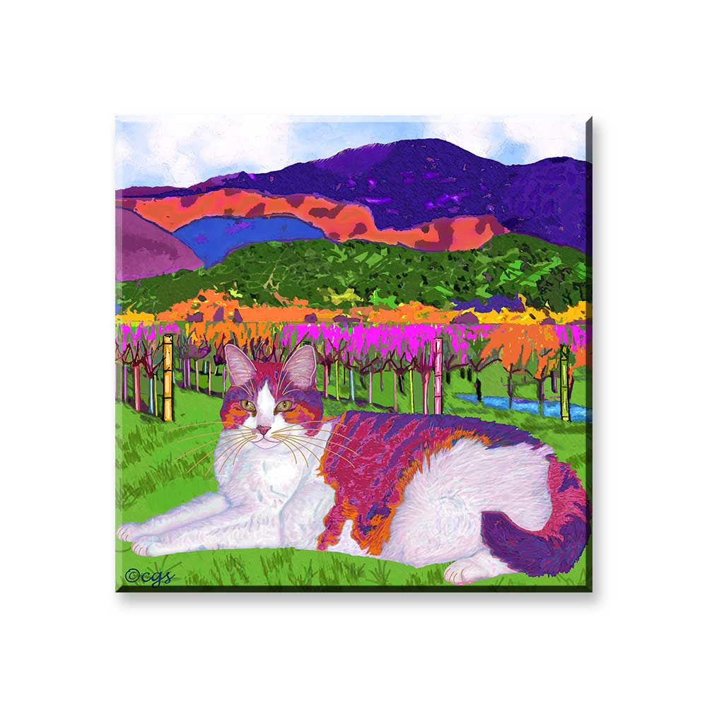 Moocher in Butler Vineyards - Wine Country Cat Art Magnet by Claudia Sanchez