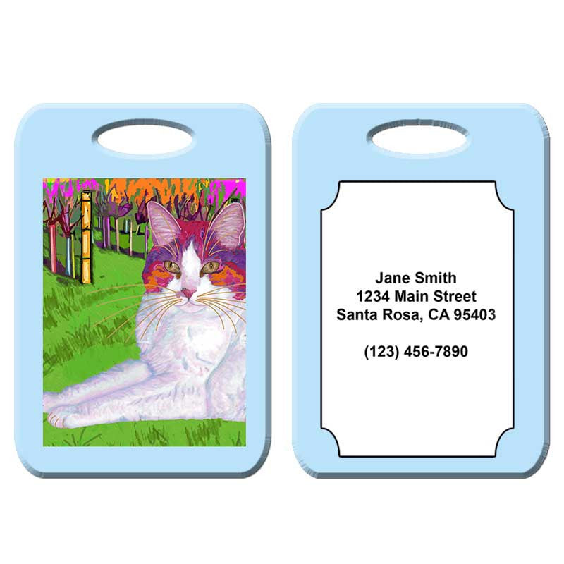 Moocher in Butler Vineyards - Cat Art Luggage Tag by Claudia Sanchez