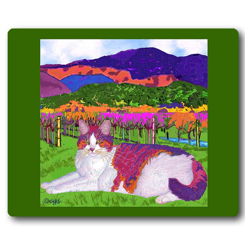 Moocher in Butler Vineyards Cat Art Mousepad by Claudia Sanchez, Claudia's Cats Collection