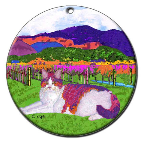 Moocher in Butler Vineyards Ceramic Cat Art Ornament by Claudia Sanchez, Claudia's Cats Collection