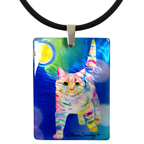 Morris Bliss Mother of Pearl Cat Art Pendant Necklace by Claudia Sanchez