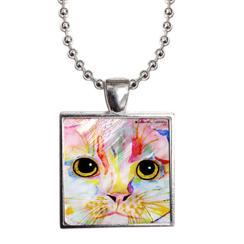 "Morris Face Cat Art 1"" Mother of Pearl Pendant Necklace by Claudia Sanchez, Claudia's Cats Collection"