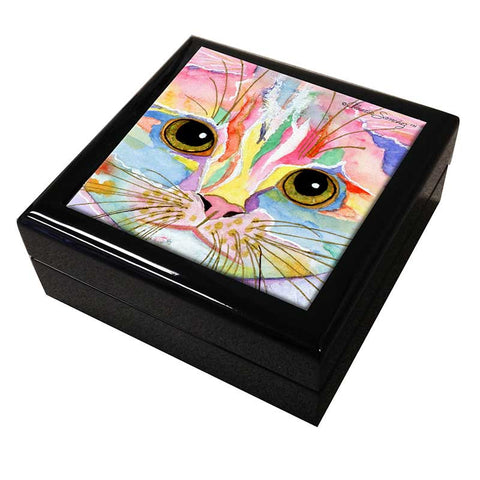 Morris Face Cat Art Tile Keepsake Box by Claudia Sanchez