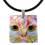 Morris Face Mother of Pearl Cat Art Pendant Necklace by Claudia Sanchez