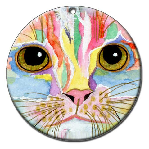 Morris Face Ceramic Cat Art Christmas Ornament by Claudia Sanchez, Claudia's Cats Collection