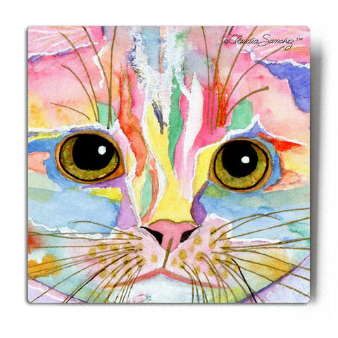 Morris Face Aluminum Cat Art Print by Claudia Sanchez, Claudia's Cats Collection